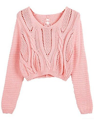 sweater pink cute crop top winter outfits lovely teenagers style girly cropped long sleeves knit