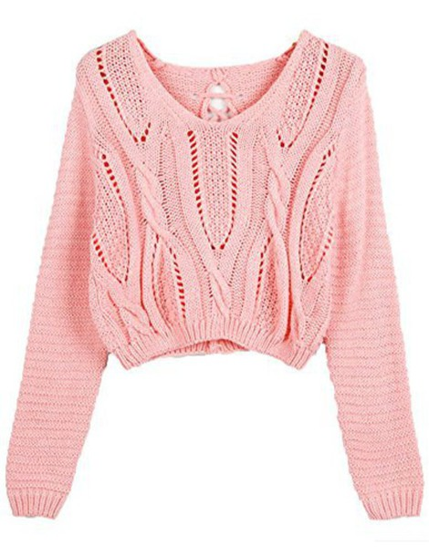 Sweater Pink Cute Crop Top Winter Outfits Lovely Teenagers Style Girly Cropped Long ...