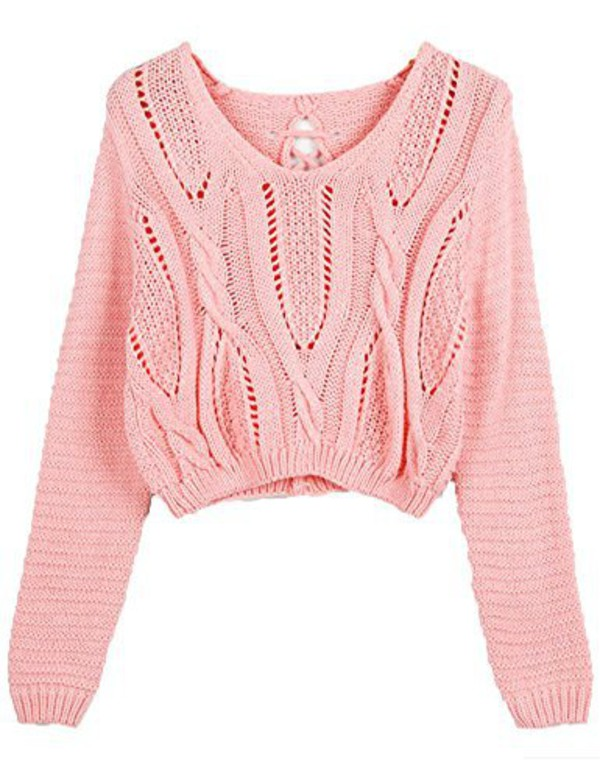 PrettyGuide Women's Long Sleeve Eyelet Cable Lace Up Crop Top at ...