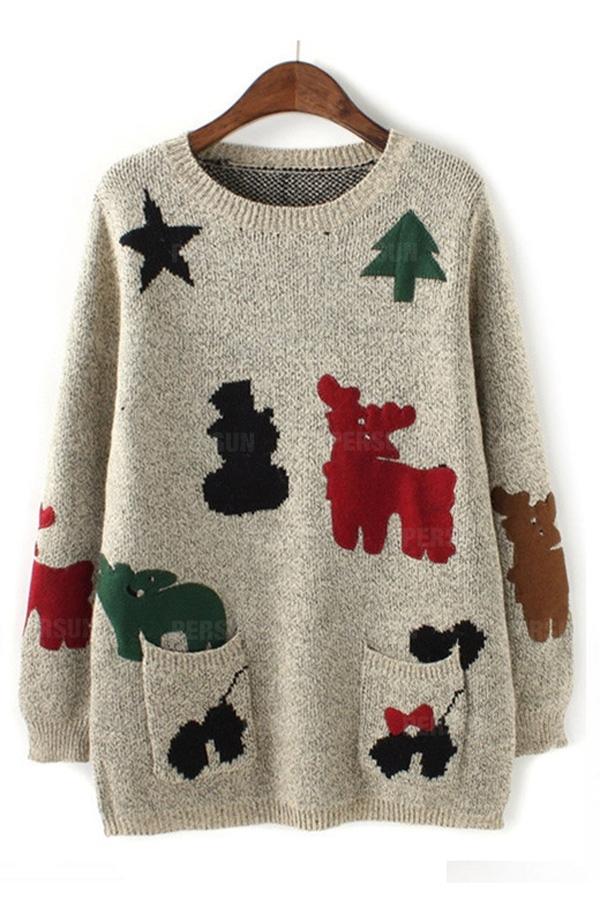 Cute Patch Pattern Sweater In Beige [FKBJ10448] - PersunMall.com