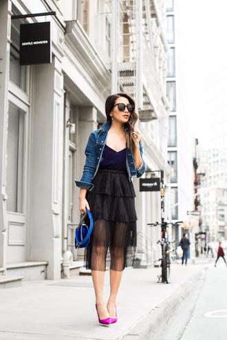 wendy's lookbook blogger top jacket tank top skirt shoes bag sunglasses denim jacket blue bag black skirt high heel pumps pumps spring outfits