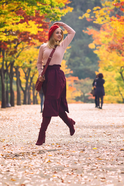 my blonde gal blogger skirt bag sweater shoes fall outfits beret crossbody bag burgundy burgundy skirt burgundy boots boots