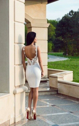 dress white dress backless dress open back dresses bodycon dress pumps gold pumps louboutin white lace dress lace dress