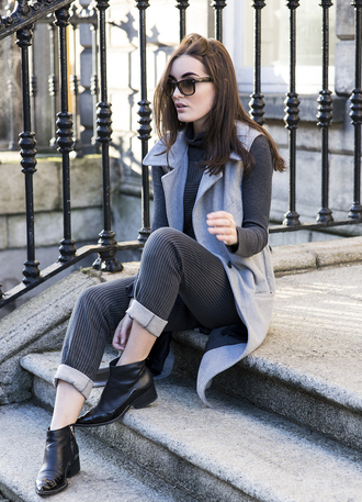 anouska proetta brandon blogger jacket cropped pants stripes winter outfits light blue ankle boots