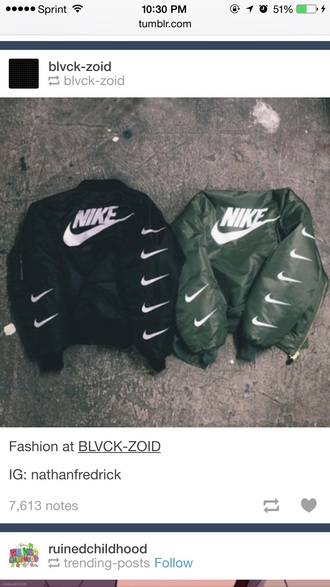 jacket nike sign coat nike sign nike jacket green black white check mark check mark logo bomber jacket green bomber jacket black bomber jacket