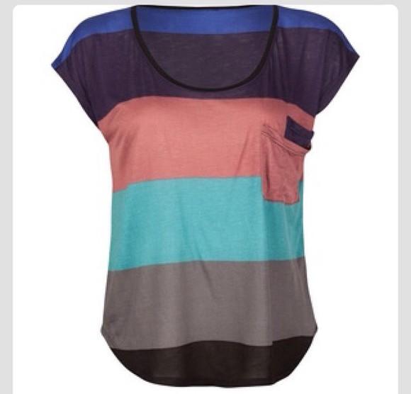 color block top colorful stripes loose tshirt blouse pocket t-shirt pocket tee