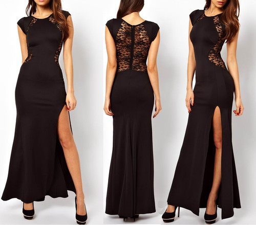 Womens Sexy Lace See-through Back Slim Bodycon Split Side Maxi Long Party Dress | Amazing Shoes UK