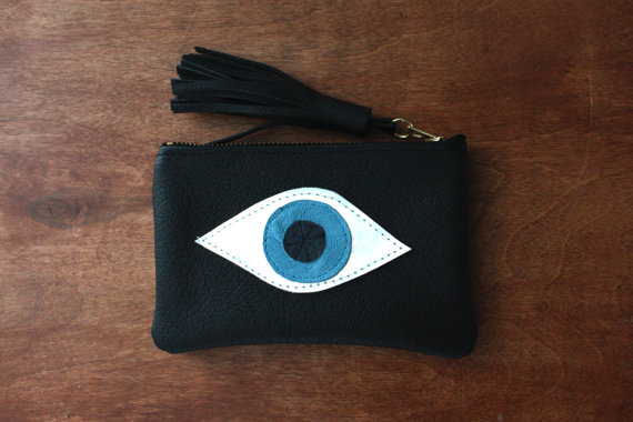 Wallet evil eye // all seeing eye// black leather by cloverhunter