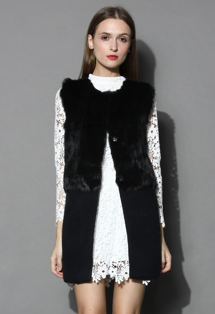 Sleeveless Faux Fur Knitted Coat - Retro, Indie and Unique Fashion