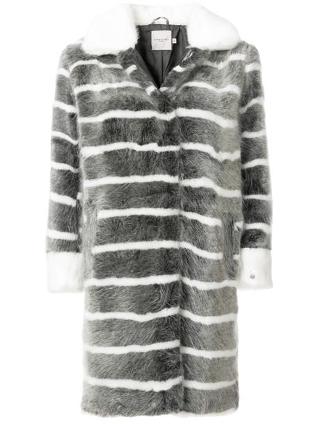 Urbancode coat striped coat fur faux fur women grey