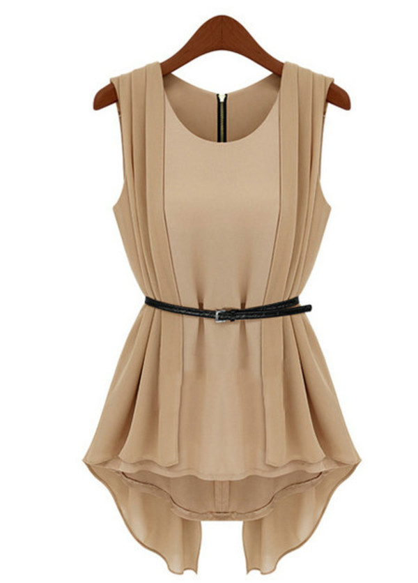 shirt beige belt top dress clothes bagsq blouse tank top chiffon ruffle cute blouse cute top