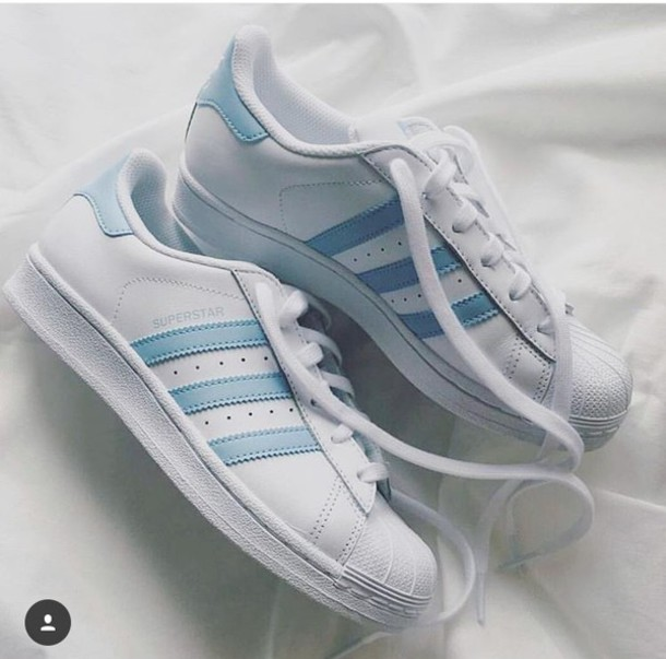 f17efb850ed shoes white adidas superstars adidas baby blue adidas originals light blue  low top sneakers blue and