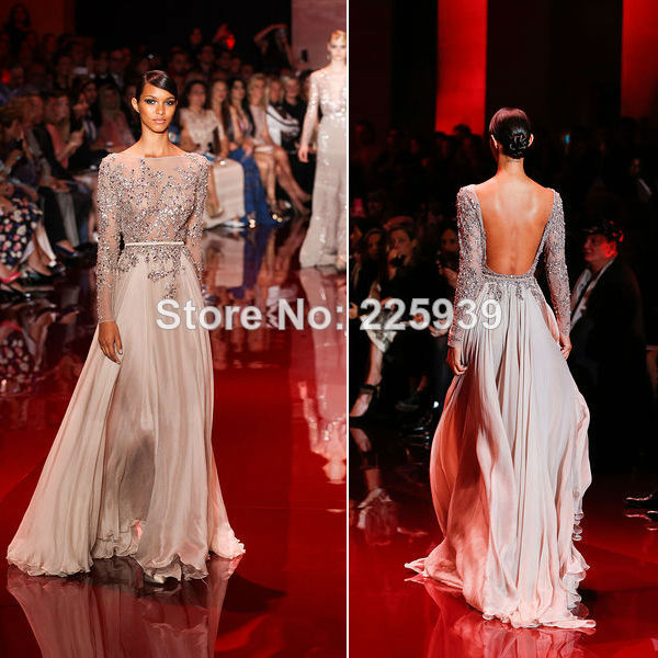 Aliexpress.com : buy 2014 elie saab new boat neck long sleeves open back see through silvery beaded crystal a line chiffon evening dress summer gowns from reliable dress open suppliers on tracy me