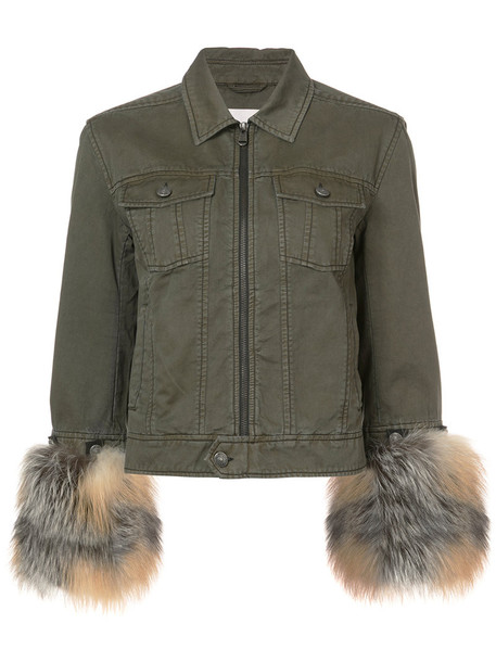 jacket fur fox women cotton green