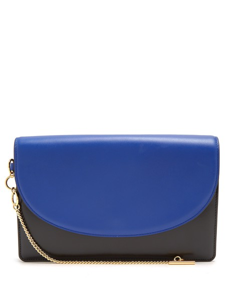 Diane Von Furstenberg leather clutch clutch leather blue black bag