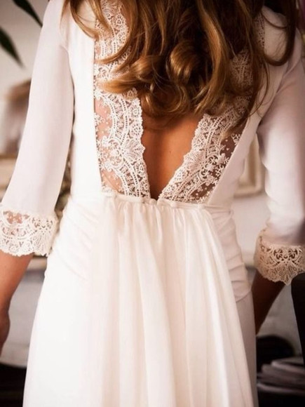 dress white dress ivory dress white lace dress lacec dress lace open back