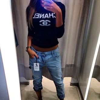 jacket chanel sweater jeans sweat black looklike girl shopping