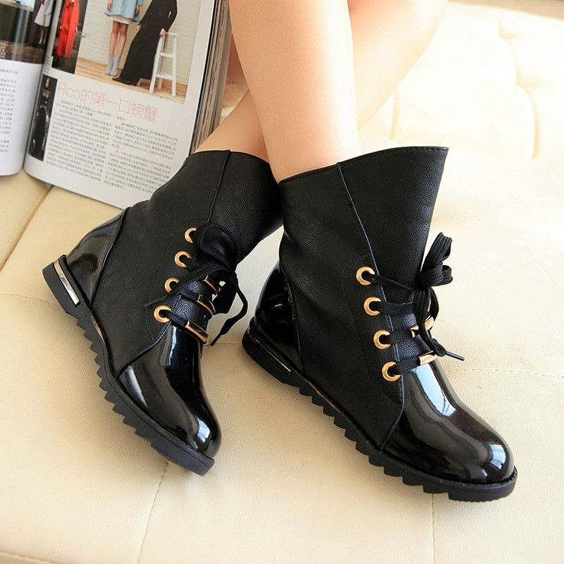 Patent Leather Low Heel Ankle Boots Lace Up Flats Oxfords Riding ...