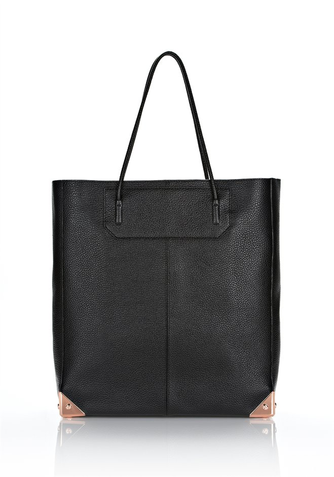 Black prisma tote in printed black with rose gold