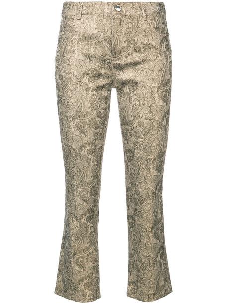 flare cropped women cotton grey metallic pants