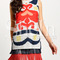 Multicolor print sleeveless fringe hem shift dress -shein(sheinside)