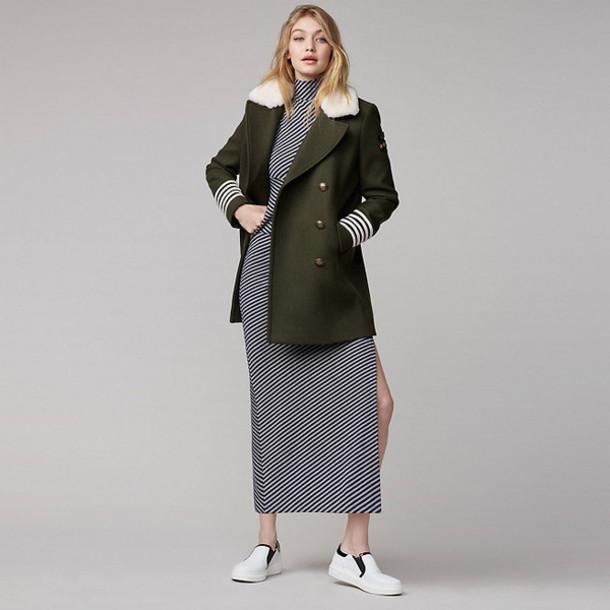 dress slit dress jacket coat khaki sneakers turtleneck dress grey dress tommy hilfiger gigi hadid model stripes striped dress midi dress fall outfits fall colors