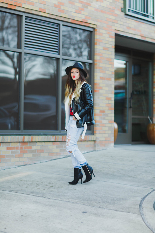 vickys style blogger shearling jacket jacket top shoes hat