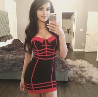 dress bodycon dress hot pink black boobtub boobtube a line dress