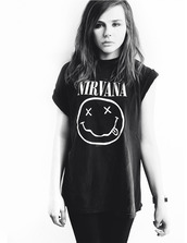 t-shirt,nirvana,chloe grace moretz,b&w,jeans,shoes