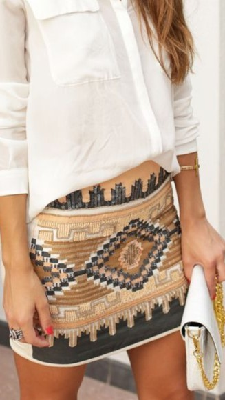 beaded skirt tribal pattern print nude jewel color mini skirt sequinned embellishments