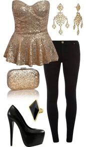 blouse,gold strapless,gold,strapless,jewels,shoes,bag,embellished top,t-shirt,shirt,top,clothes,gold sequence shirt,nye15,nye dress,gold sequins,sequins,bustier,bustier top,peplum,black,gold sequins peplum shirt