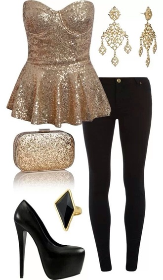blouse gold strapless gold strapless jewels shoes bag embellished top t-shirt shirt top clothes gold sequence shirt nye15 nye dress gold sequins sequins bustier bustier top peplum black gold sequins peplum shirt