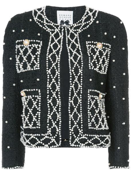 Edward Achour Paris jacket women pearl embellished black