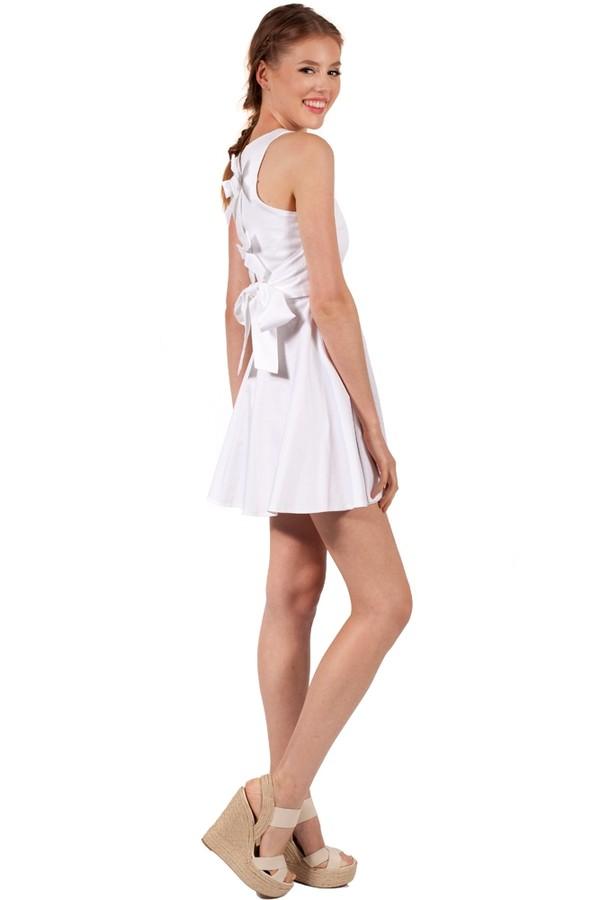 dress bow back Bow Back Dress skater dress cute white dress white