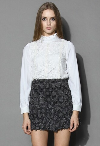 top chicwish tender lace and ruffled top white ruffle top fashion and chic