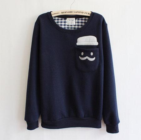 College fleece o neck moustache pocket autumn winter women blue clown pullover sweater hoodies sweatshirt outerwear coat shirt
