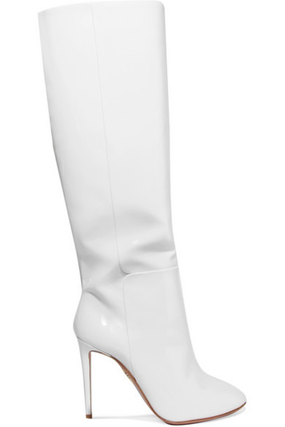 Aquazzura - Brera Patent-leather Knee Boots - White