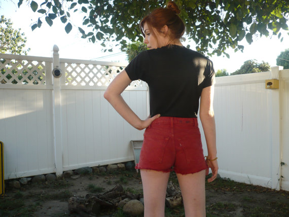 Levis high waist red cutoff shorts  small by velvetbow on etsy