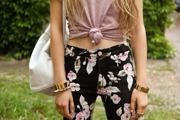 pants jeans floral jeans golden cuffs tie knot top knotted top pretty in pink long hair sexy