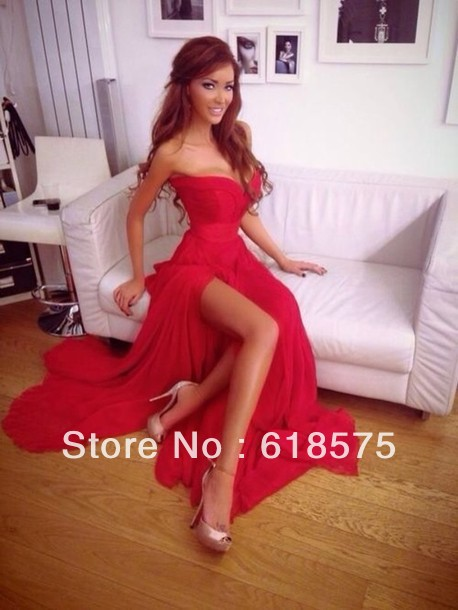 2014 Pleated Sweetheart Bodice Beach Chiffon Evening Gowns Long Red Prom Dresses-in Prom Dresses from Apparel & Accessories on Aliexpress.com