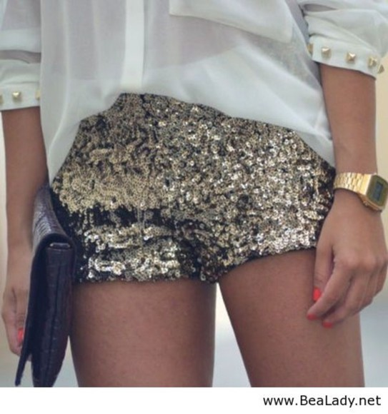 gold shorts blouse gold sequins jewels