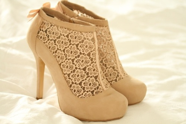 shoes boots ankle boots heels high heels high heels boots tan lace ankle heels