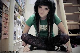 t-shirt pants lace green t-shirt