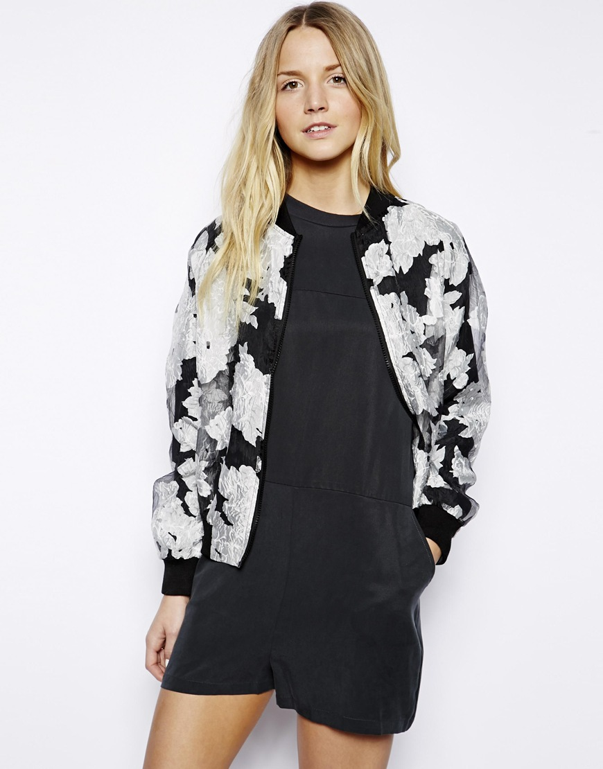 Max C Sheer Floral Bomber Jacket at asos.com