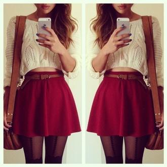 skater skirt white crop top sweater burgundy red skirt blouse skirt cropped sweater bag