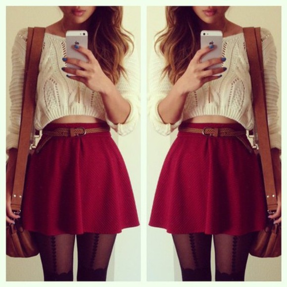 skirt red dress red skirt skater skirt white crop top sweater burgundy blouse