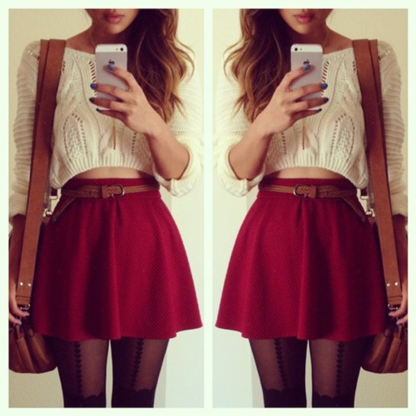 skater skirt white crop top sweater burgundy burgundy red skirt blouse skirt cropped sweater bag
