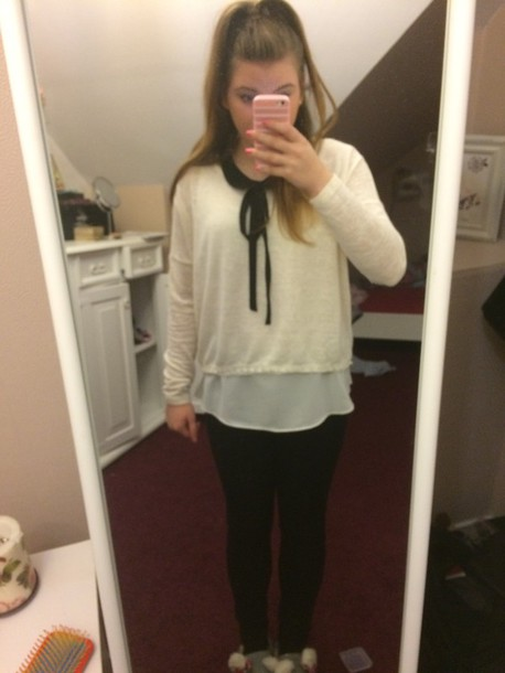 blouse white sweater top elegante vintage school girl