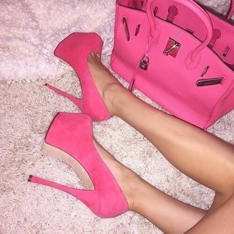 shoes pink high heels