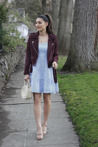 seekingsunshine blogger dress jacket bag jewels shoes make-up straw bag suede jacket blue dress